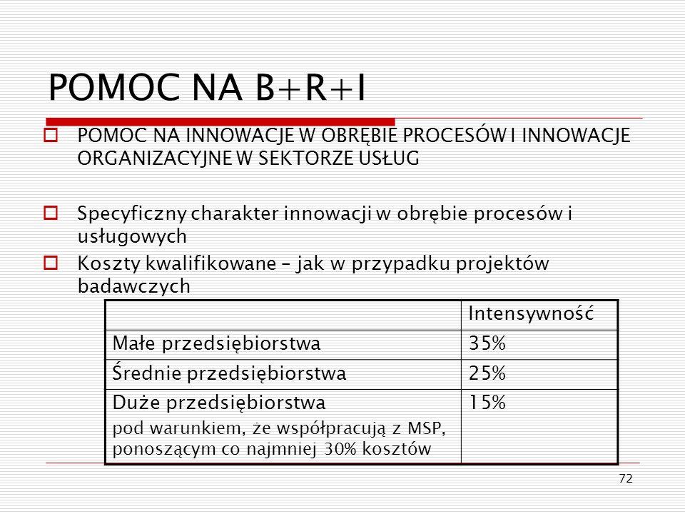 72 POMOC NA B+R+I POMOC NA INNOWACJE W OBRĘBIE PROCESÓW I INNOWACJE ORGANIZACYJNE W SEKTORZE USŁUG Specyficzny charakter innowacji w obrębie procesów