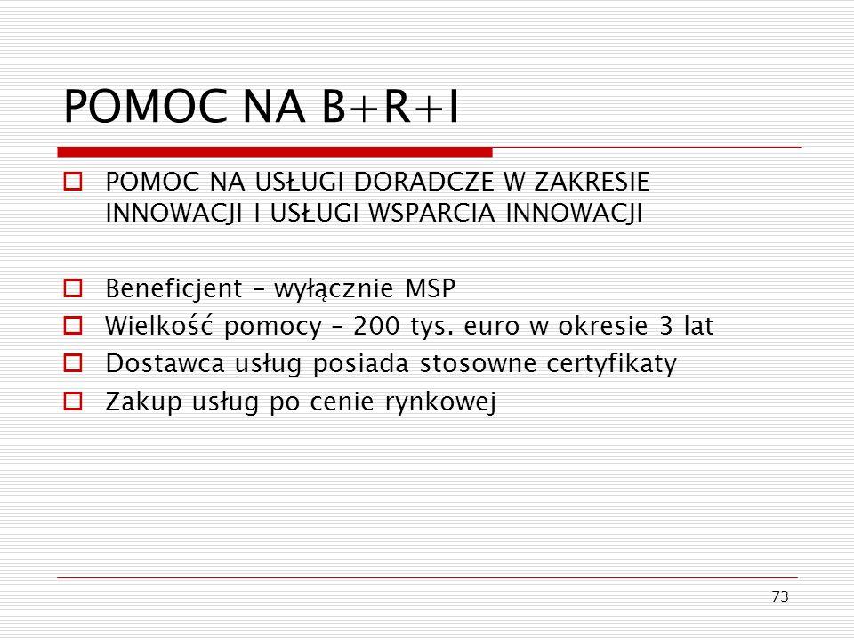 73 POMOC NA B+R+I POMOC NA USŁUGI DORADCZE W ZAKRESIE INNOWACJI I USŁUGI WSPARCIA INNOWACJI Beneficjent – wyłącznie MSP Wielkość pomocy – 200 tys. eur