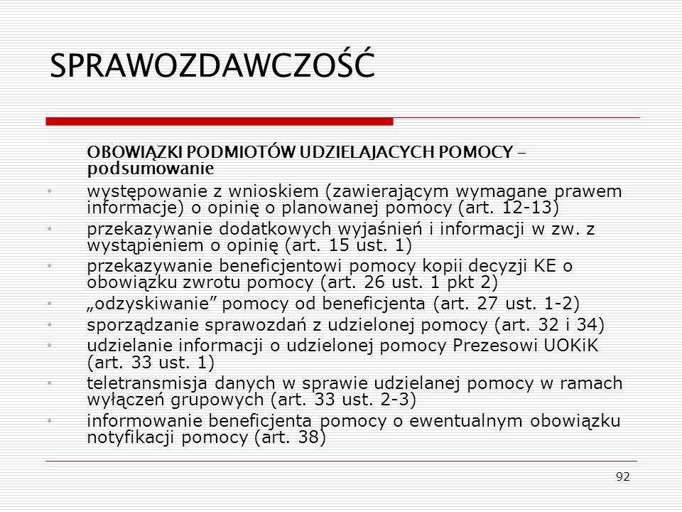 92 SPRAWOZDAWCZOŚĆ OBOWIĄZKI PODMIOTÓW UDZIELAJACYCH POMOCY - podsumowanie występowanie z wnioskiem (zawierającym wymagane prawem informacje) o opinię