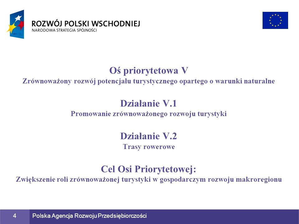 Polska Agencja Rozwoju Przedsiębiorczości5 Celem Działania V.2 PO RPW jest realizacja pięciu kompleksowych projektów, których celem jest budowa spójnej trasy rowerowej, która umożliwi ponadregionalną turystykę rowerową, łącząc pięć województw Polski Wschodniej: warmińsko-mazurskie, podlaskie, lubelskie, świętokrzyskie, podkarpackie.