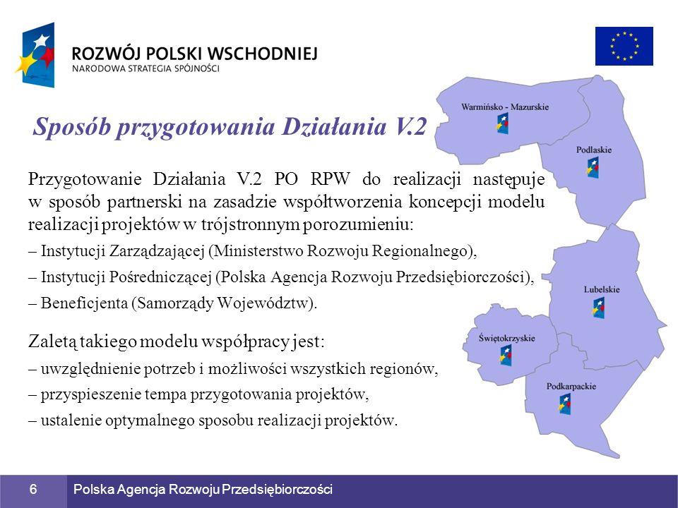Polska Agencja Rozwoju Przedsiębiorczości6 Przygotowanie Działania V.2 PO RPW do realizacji następuje w sposób partnerski na zasadzie współtworzenia k