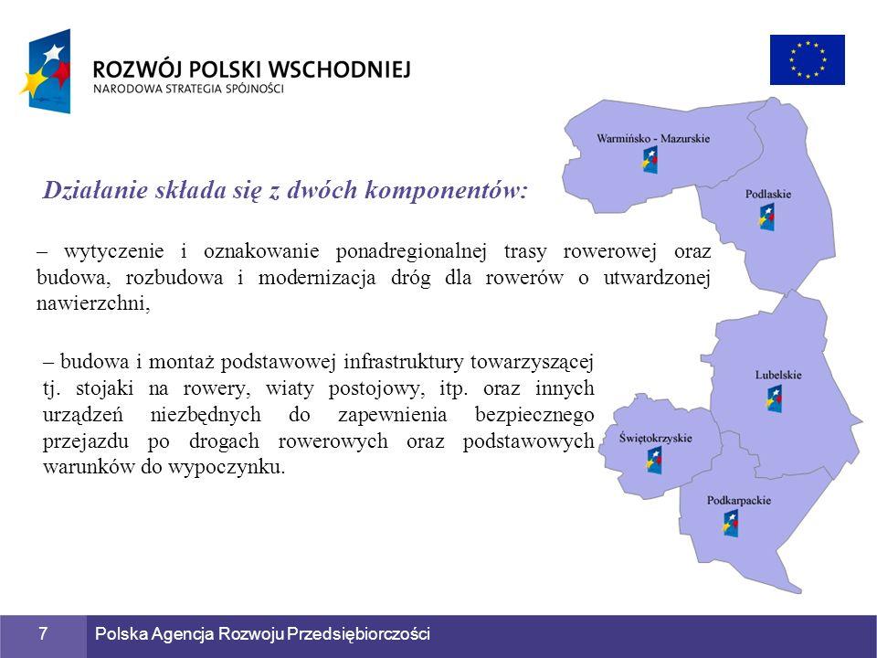 Polska Agencja Rozwoju Przedsiębiorczości7 – wytyczenie i oznakowanie ponadregionalnej trasy rowerowej oraz budowa, rozbudowa i modernizacja dróg dla
