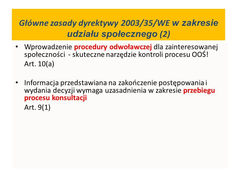 Wprowadzenie procedury odwoławczej dla zainteresowanej społeczności - skuteczne narzędzie kontroli procesu OOŚ! Art. 10(a) Informacja przedstawiana na