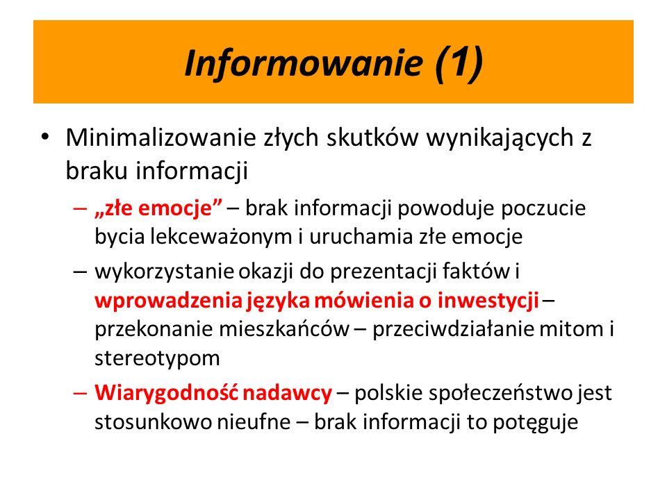 Informowanie (1) Minimalizowanie złych skutków wynikających z braku informacji – złe emocje – brak informacji powoduje poczucie bycia lekceważonym i uruchamia złe emocje – wykorzystanie okazji do prezentacji faktów i wprowadzenia języka mówienia o inwestycji – przekonanie mieszkańców – przeciwdziałanie mitom i stereotypom – Wiarygodność nadawcy – polskie społeczeństwo jest stosunkowo nieufne – brak informacji to potęguje