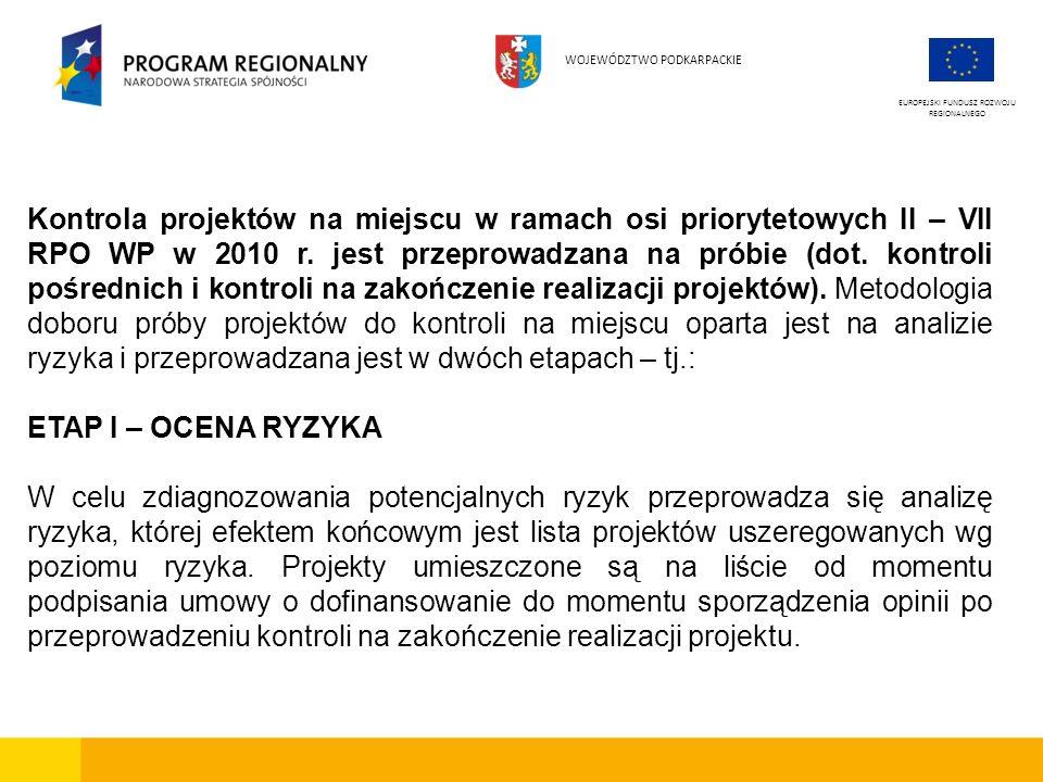 Kontrola projektów na miejscu w ramach osi priorytetowych II – VII RPO WP w 2010 r. jest przeprowadzana na próbie (dot. kontroli pośrednich i kontroli
