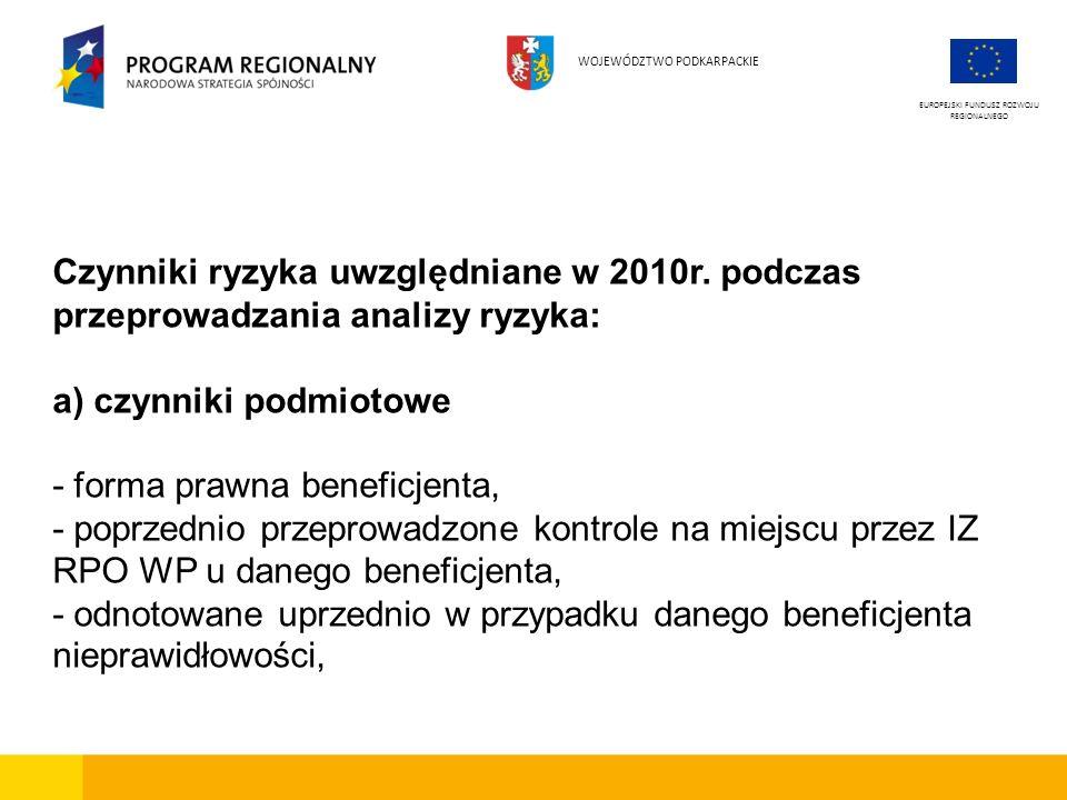 Czynniki ryzyka uwzględniane w 2010r. podczas przeprowadzania analizy ryzyka: a) czynniki podmiotowe - forma prawna beneficjenta, - poprzednio przepro