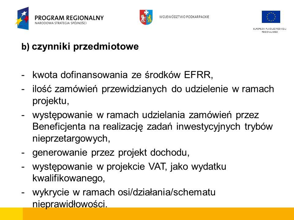 b) czynniki przedmiotowe -kwota dofinansowania ze środków EFRR, -ilość zamówień przewidzianych do udzielenie w ramach projektu, -występowanie w ramach