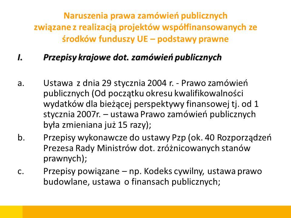 I.Przepisy krajowe dot. zamówień publicznych a.Ustawa z dnia 29 stycznia 2004 r. - Prawo zamówień publicznych (Od początku okresu kwalifikowalności wy