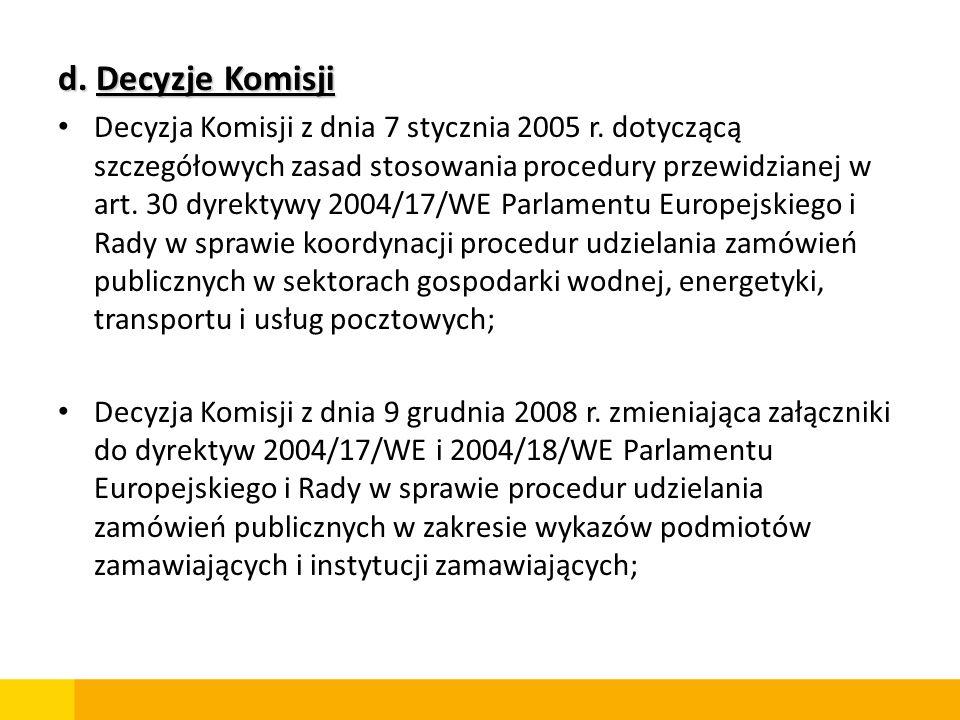 d. Decyzje Komisji Decyzja Komisji z dnia 7 stycznia 2005 r. dotyczącą szczegółowych zasad stosowania procedury przewidzianej w art. 30 dyrektywy 2004