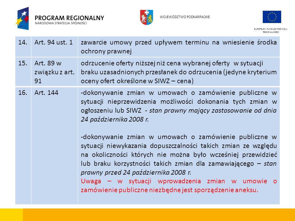 EUROPEJSKI FUNDUSZ ROZWOJU REGIONALNEGO WOJEWÓDZTWO PODKARPACKIE 15.Art. 89 w związku z art. 91 odrzucenie oferty niższej niż cena wybranej oferty w s