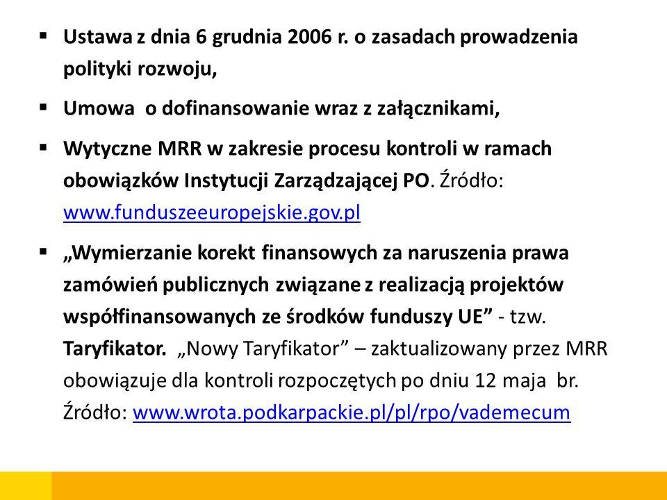 Ustawa z dnia 6 grudnia 2006 r. o zasadach prowadzenia polityki rozwoju, Umowa o dofinansowanie wraz z załącznikami, Wytyczne MRR w zakresie procesu k