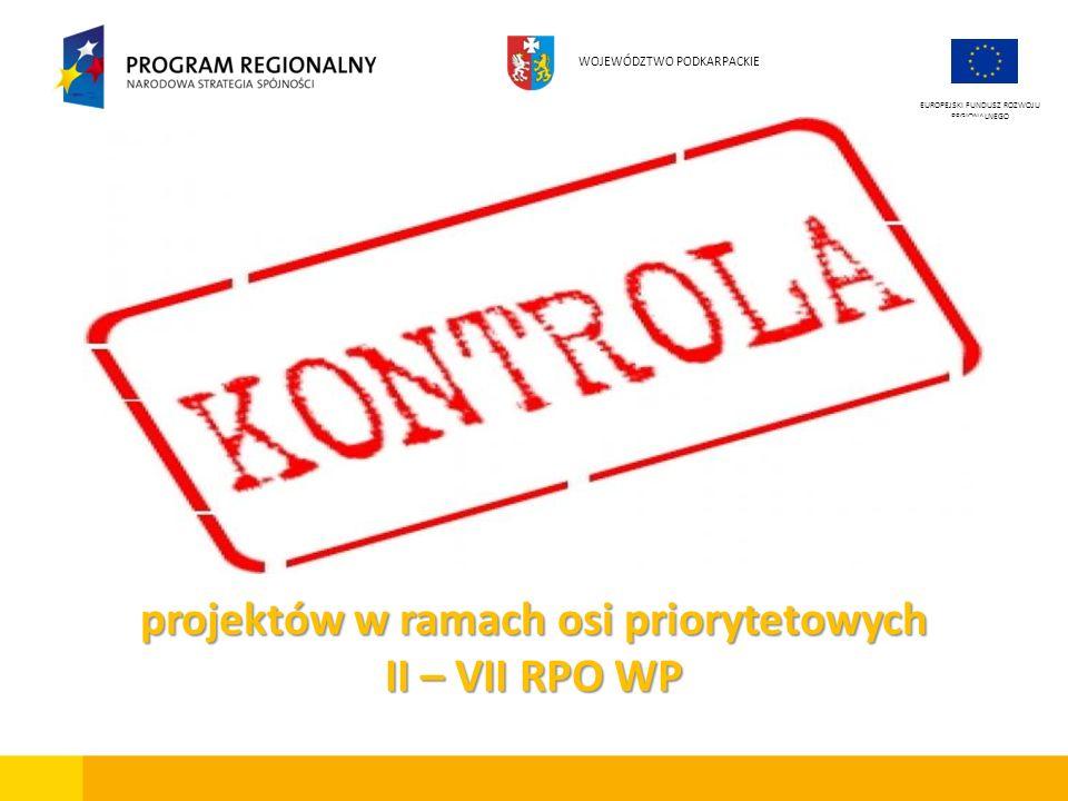 EUROPEJSKI FUNDUSZ ROZWOJU REGIONALNEGO WOJEWÓDZTWO PODKARPACKIE projektów w ramach osi priorytetowych II – VII RPO WP