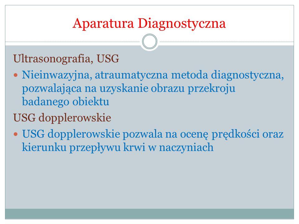 Aparatura Diagnostyczna Ultrasonografia, USG Nieinwazyjna, atraumatyczna metoda diagnostyczna, pozwalająca na uzyskanie obrazu przekroju badanego obie