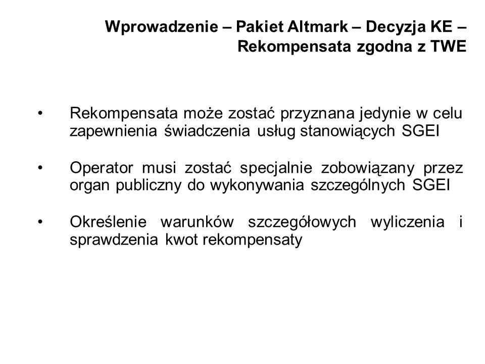 Wprowadzenie – Pakiet Altmark – Decyzja KE – Rekompensata zgodna z TWE Rekompensata może zostać przyznana jedynie w celu zapewnienia świadczenia usług