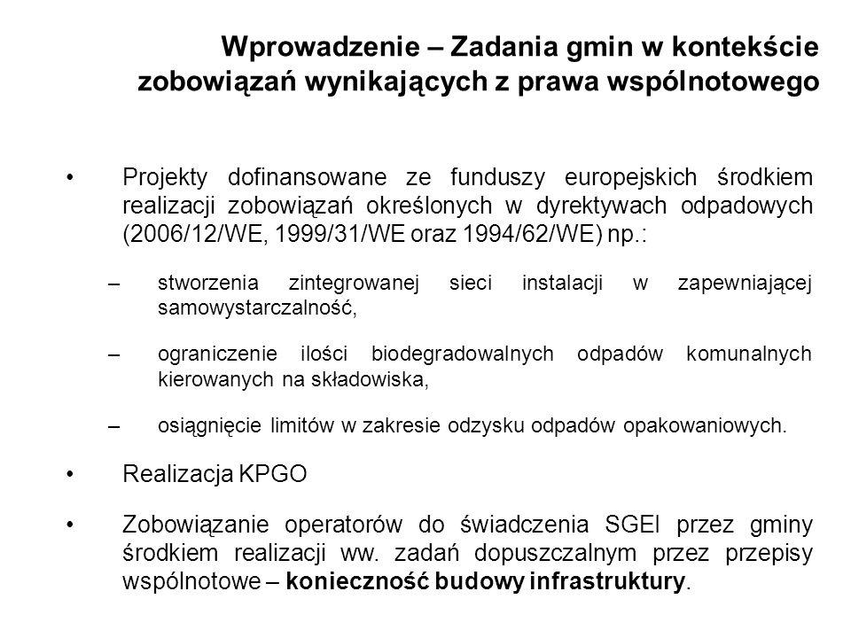 Wprowadzenie – Zadania gmin w kontekście zobowiązań wynikających z prawa wspólnotowego Projekty dofinansowane ze funduszy europejskich środkiem realiz