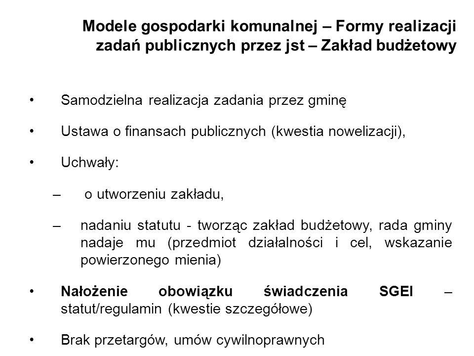 Modele gospodarki komunalnej – Formy realizacji zadań publicznych przez jst – Zakład budżetowy Samodzielna realizacja zadania przez gminę Ustawa o fin