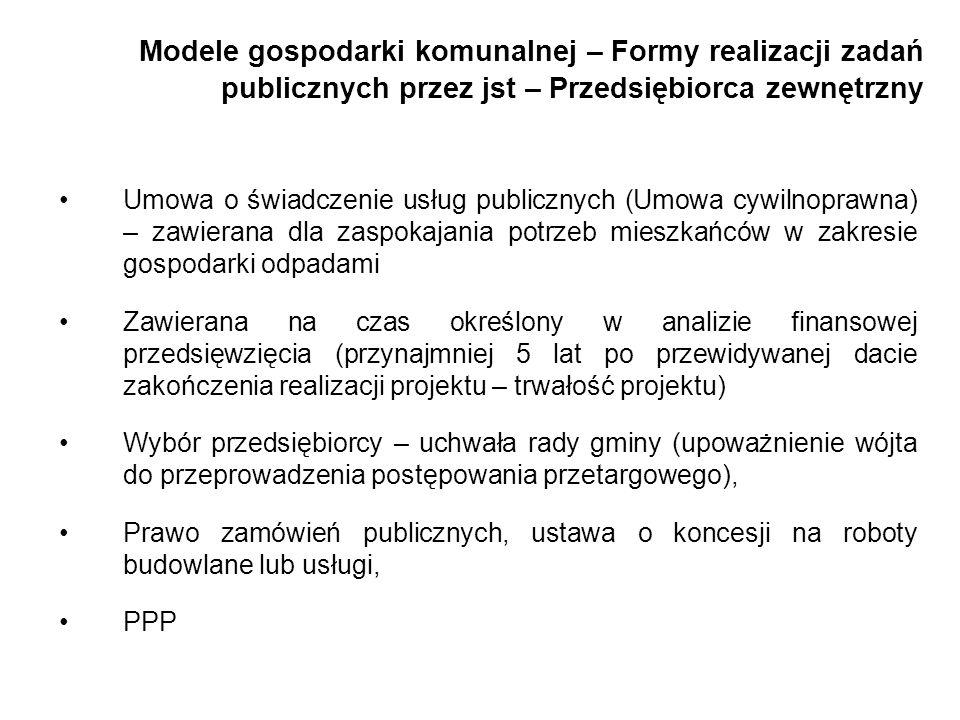Modele gospodarki komunalnej – Formy realizacji zadań publicznych przez jst – Przedsiębiorca zewnętrzny Umowa o świadczenie usług publicznych (Umowa c