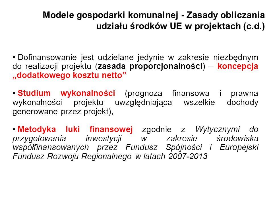 Modele gospodarki komunalnej - Zasady obliczania udziału środków UE w projektach (c.d.) Dofinansowanie jest udzielane jedynie w zakresie niezbędnym do