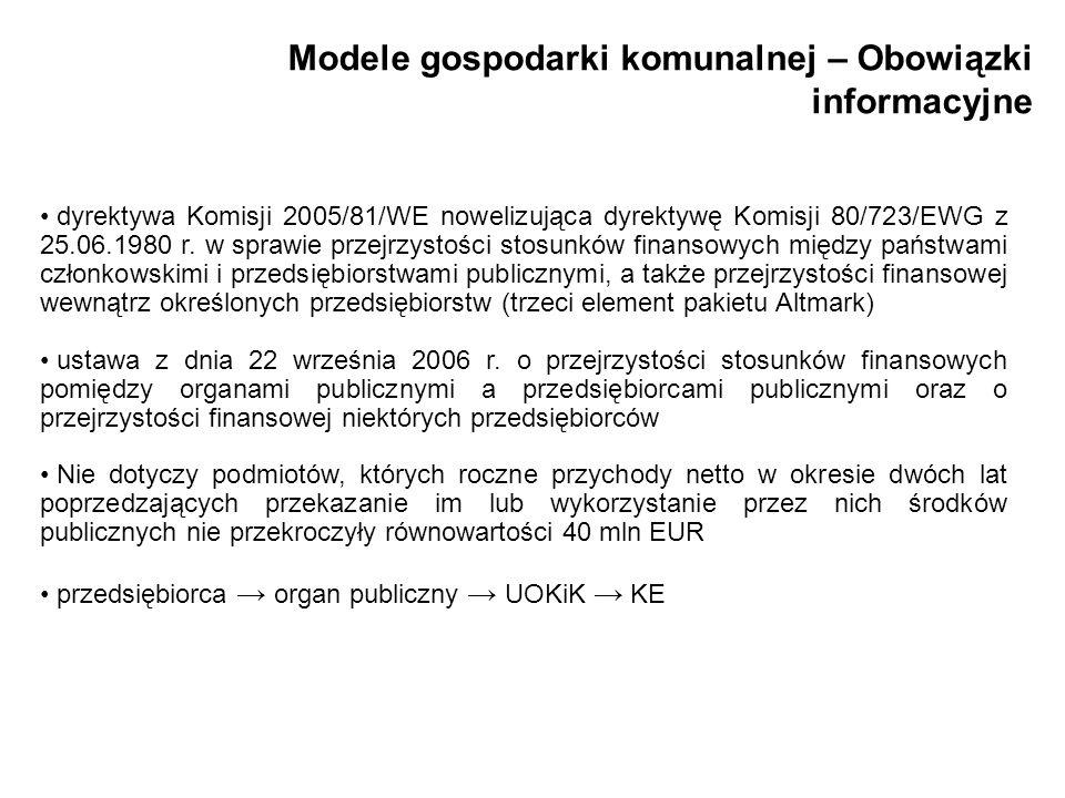 Modele gospodarki komunalnej – Obowiązki informacyjne dyrektywa Komisji 2005/81/WE nowelizująca dyrektywę Komisji 80/723/EWG z 25.06.1980 r. w sprawie
