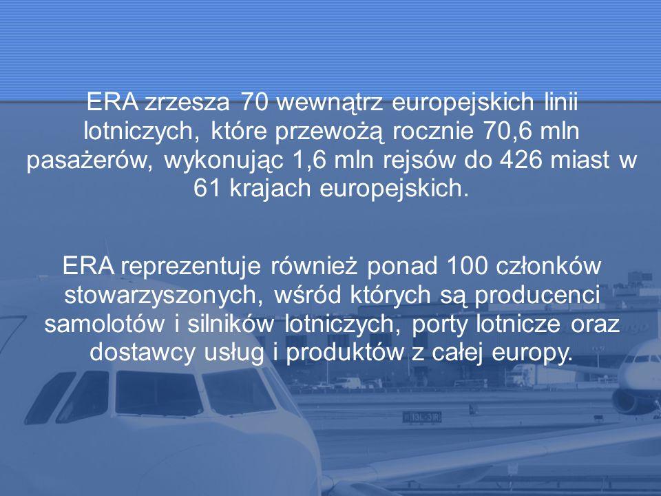 ERA zrzesza 70 wewnątrz europejskich linii lotniczych, które przewożą rocznie 70,6 mln pasażerów, wykonując 1,6 mln rejsów do 426 miast w 61 krajach e