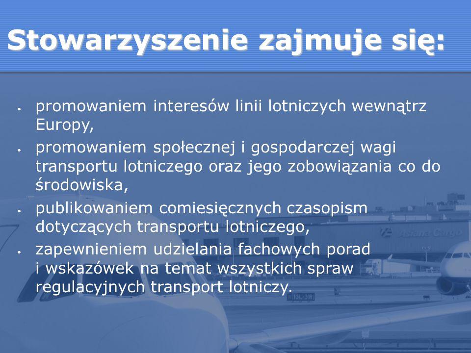 promowaniem interesów linii lotniczych wewnątrz Europy, promowaniem społecznej i gospodarczej wagi transportu lotniczego oraz jego zobowiązania co do