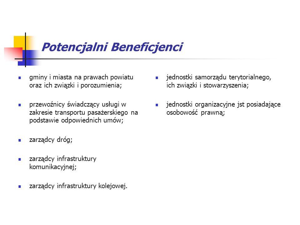 Potencjalni Beneficjenci gminy i miasta na prawach powiatu oraz ich związki i porozumienia; przewoźnicy świadczący usługi w zakresie transportu pasaże