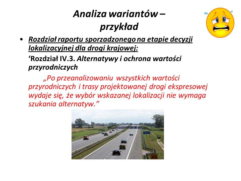Analiza wariantów – przykład Rozdział raportu sporzadzonego na etapie decyzji lokalizacyjnej dla drogi krajowej: Rozdział IV.3.