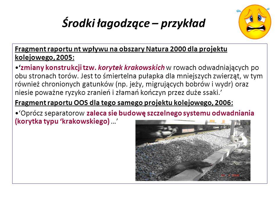 Środki łagodzące – przykład Fragment raportu nt wpływu na obszary Natura 2000 dla projektu kolejowego, 2005: zmiany konstrukcji tzw.