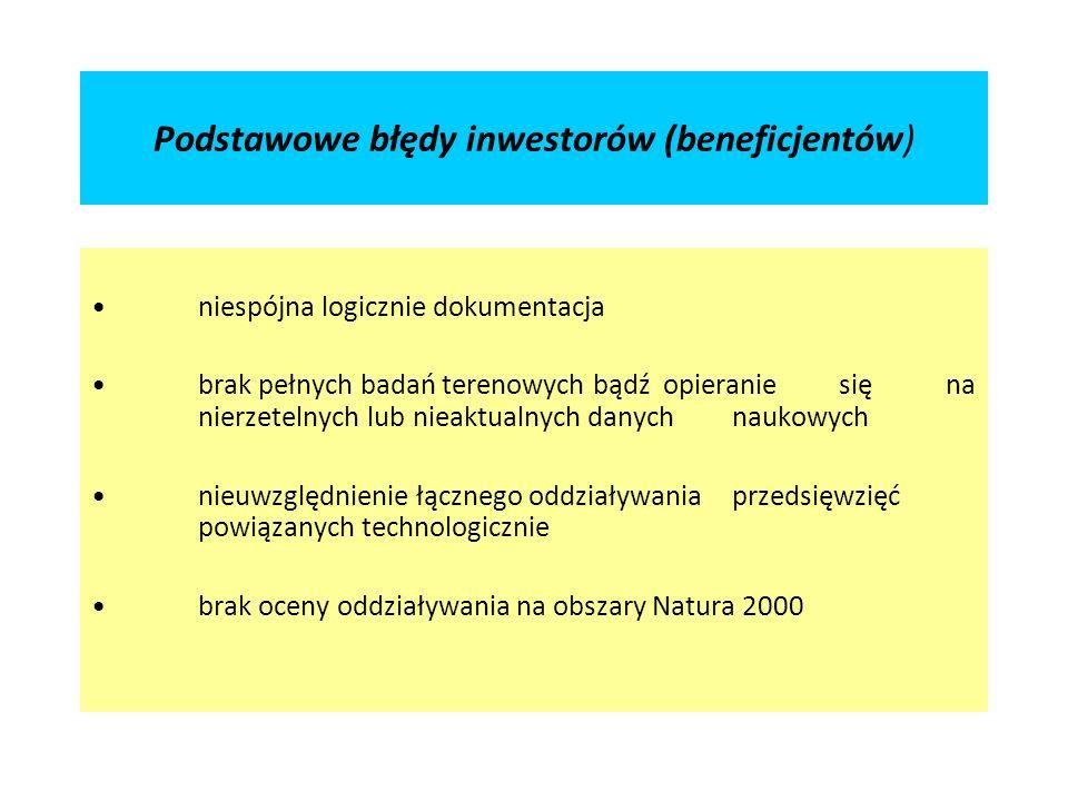 Podstawowe błędy inwestorów (beneficjentów) niespójna logicznie dokumentacja brak pełnych badań terenowych bądź opieranie się na nierzetelnych lub nieaktualnych danych naukowych nieuwzględnienie łącznego oddziaływania przedsięwzięć powiązanych technologicznie brak oceny oddziaływania na obszary Natura 2000