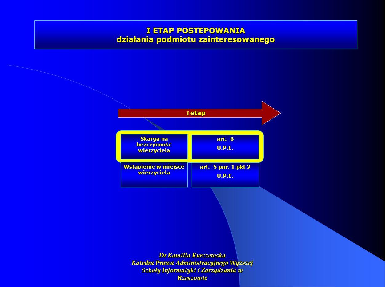 I ETAP POSTEPOWANIA działania podmiotu zainteresowanego I etap Skarga na bezczynność wierzyciela art. 6 U.P.E. Wstąpienie w miejsce wierzyciela art. 5