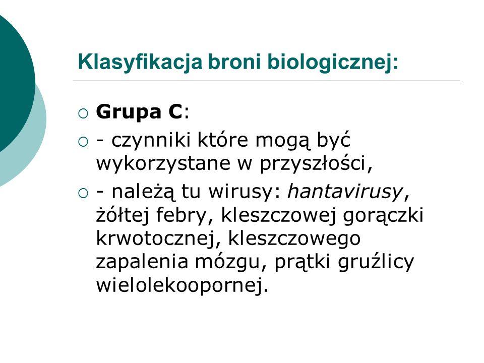 Klasyfikacja broni biologicznej: Grupa C: - czynniki które mogą być wykorzystane w przyszłości, - należą tu wirusy: hantavirusy, żółtej febry, kleszcz