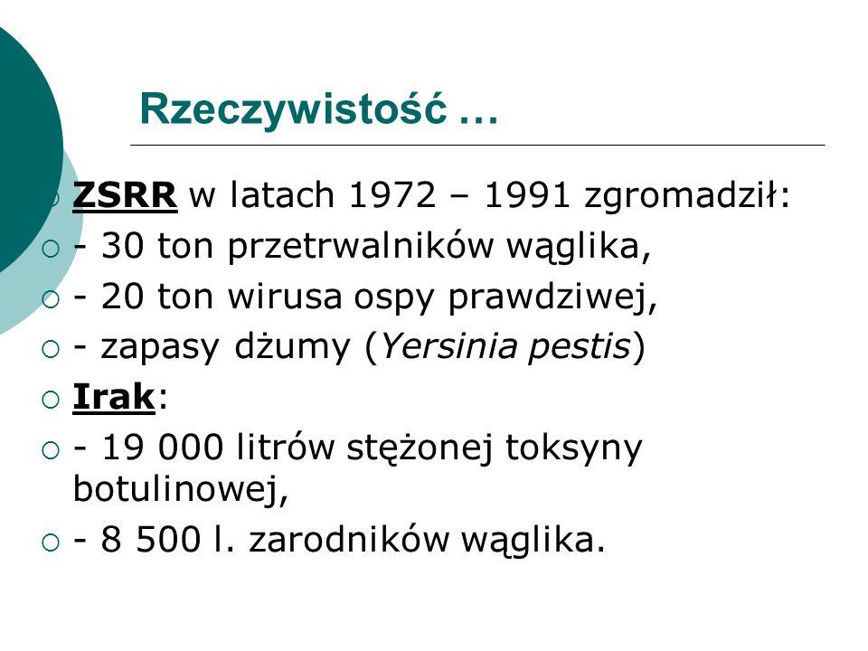 Rzeczywistość … ZSRR w latach 1972 – 1991 zgromadził: - 30 ton przetrwalników wąglika, - 20 ton wirusa ospy prawdziwej, - zapasy dżumy (Yersinia pesti