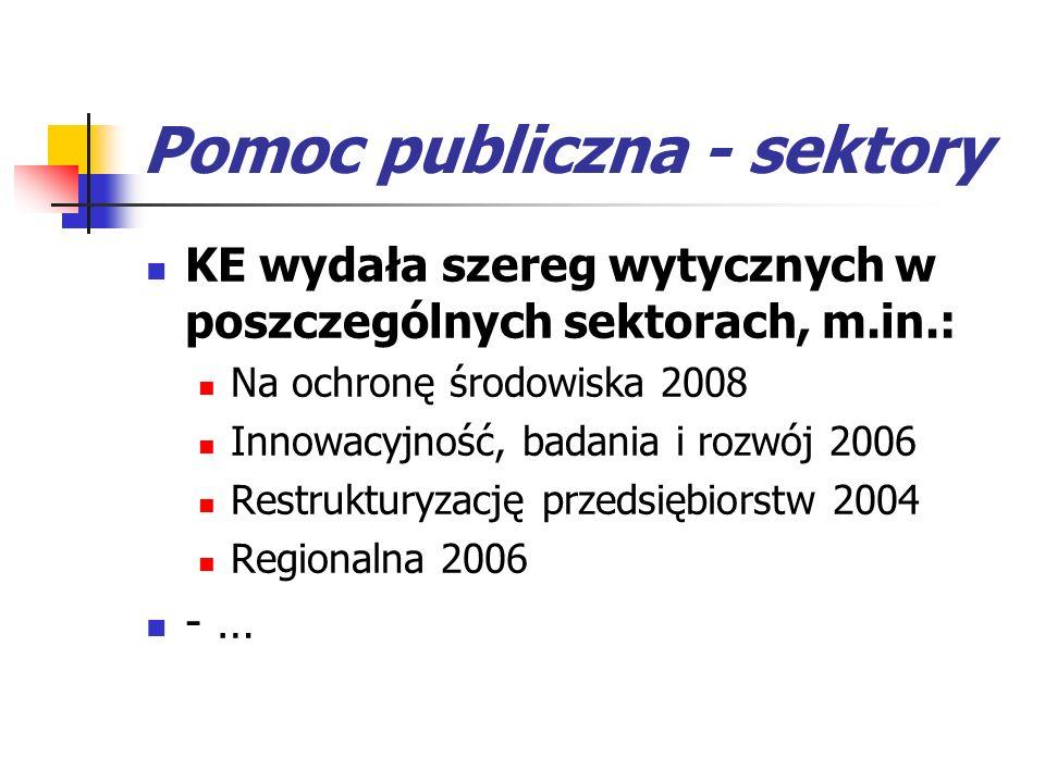 Pomoc publiczna - sektory KE wydała szereg wytycznych w poszczególnych sektorach, m.in.: Na ochronę środowiska 2008 Innowacyjność, badania i rozwój 20