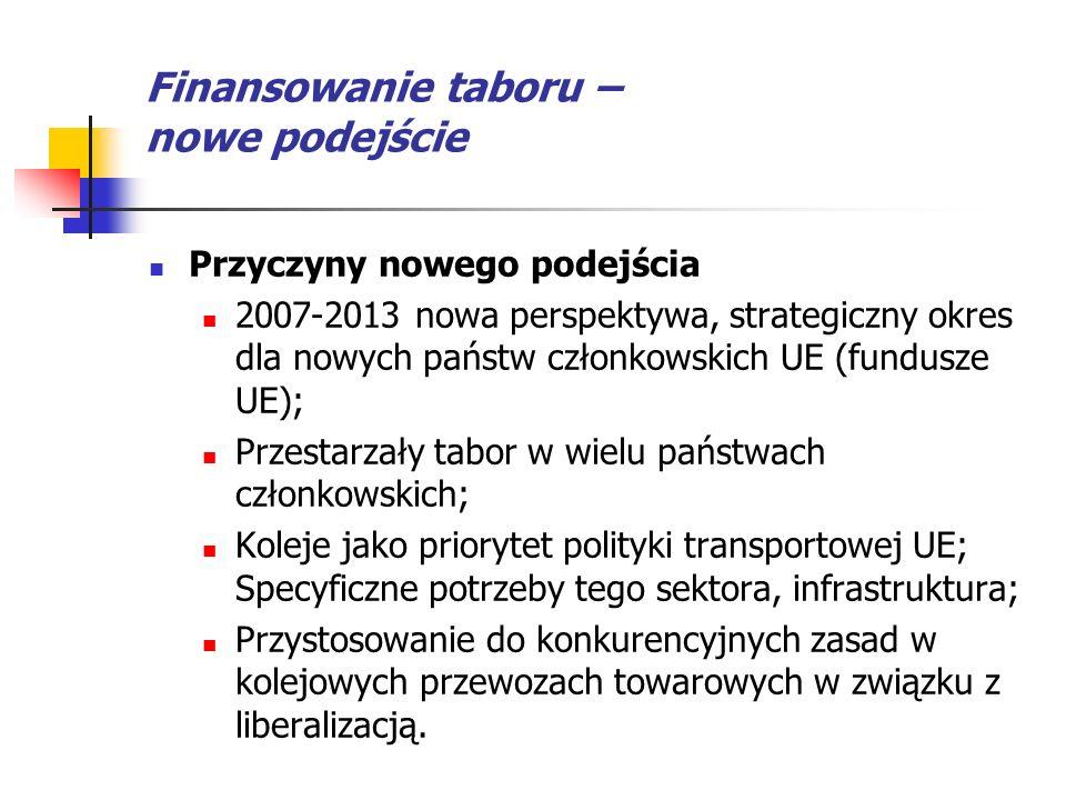 Finansowanie taboru – nowe podejście Przyczyny nowego podejścia 2007-2013 nowa perspektywa, strategiczny okres dla nowych państw członkowskich UE (fun