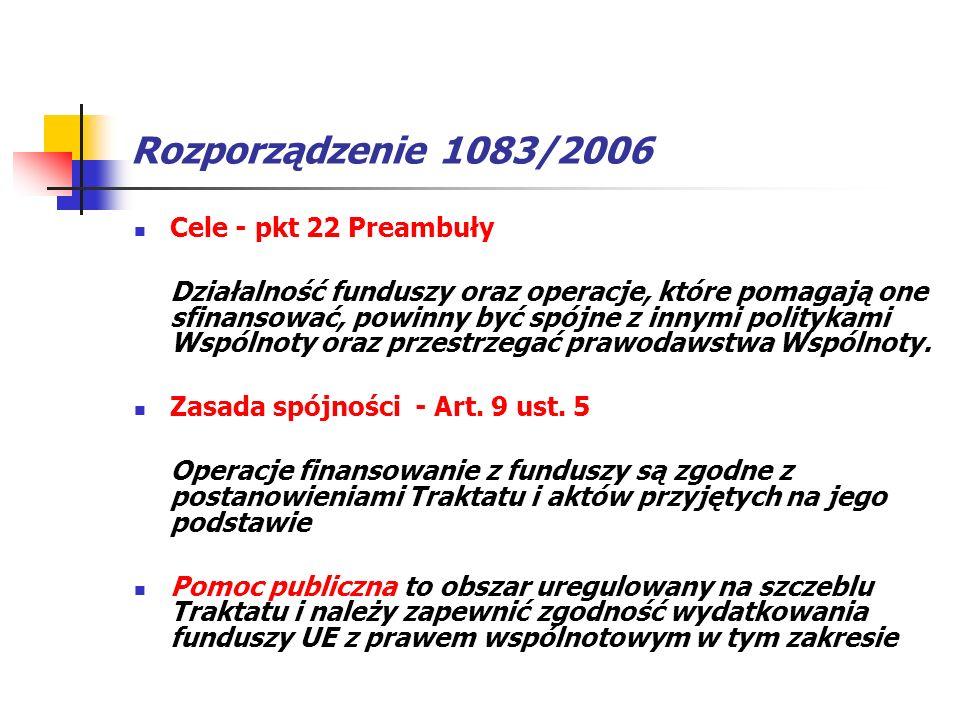 Rozporządzenie 1083/2006 Cele - pkt 22 Preambuły Działalność funduszy oraz operacje, które pomagają one sfinansować, powinny być spójne z innymi polit