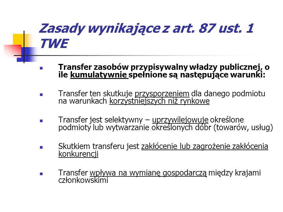 Zasady wynikające z art. 87 ust. 1 TWE Transfer zasobów przypisywalny władzy publicznej, o ile kumulatywnie spełnione są następujące warunki: Transfer