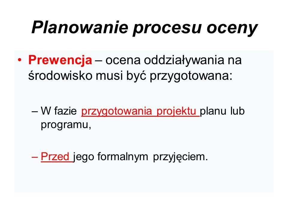 Planowanie procesu oceny Prewencja – ocena oddziaływania na środowisko musi być przygotowana: –W fazie przygotowania projektu planu lub programu, –Prz