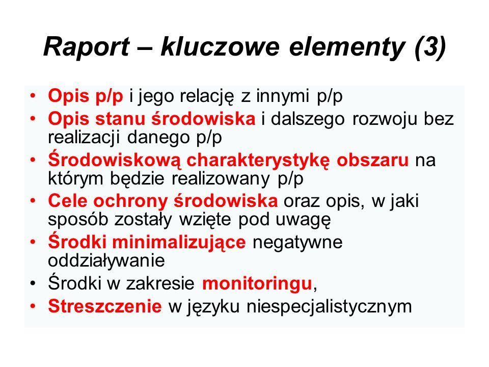 Raport – kluczowe elementy (3) Opis p/p i jego relację z innymi p/p Opis stanu środowiska i dalszego rozwoju bez realizacji danego p/p Środowiskową ch