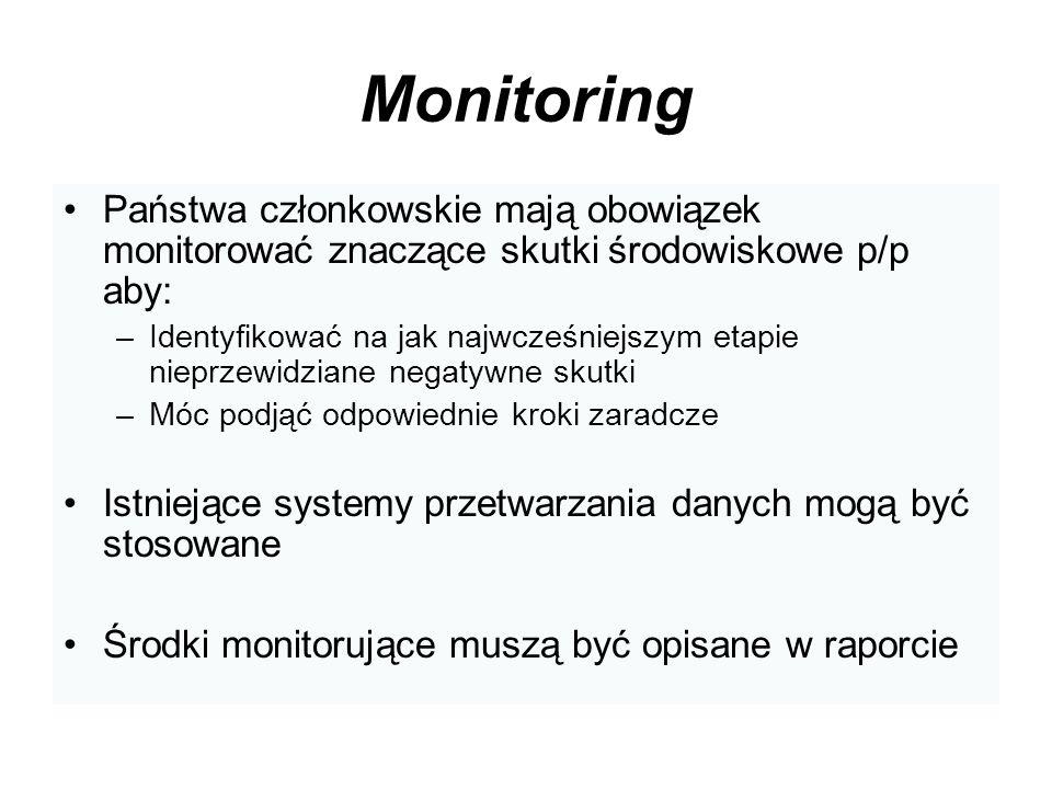 Monitoring Państwa członkowskie mają obowiązek monitorować znaczące skutki środowiskowe p/p aby: –Identyfikować na jak najwcześniejszym etapie nieprze