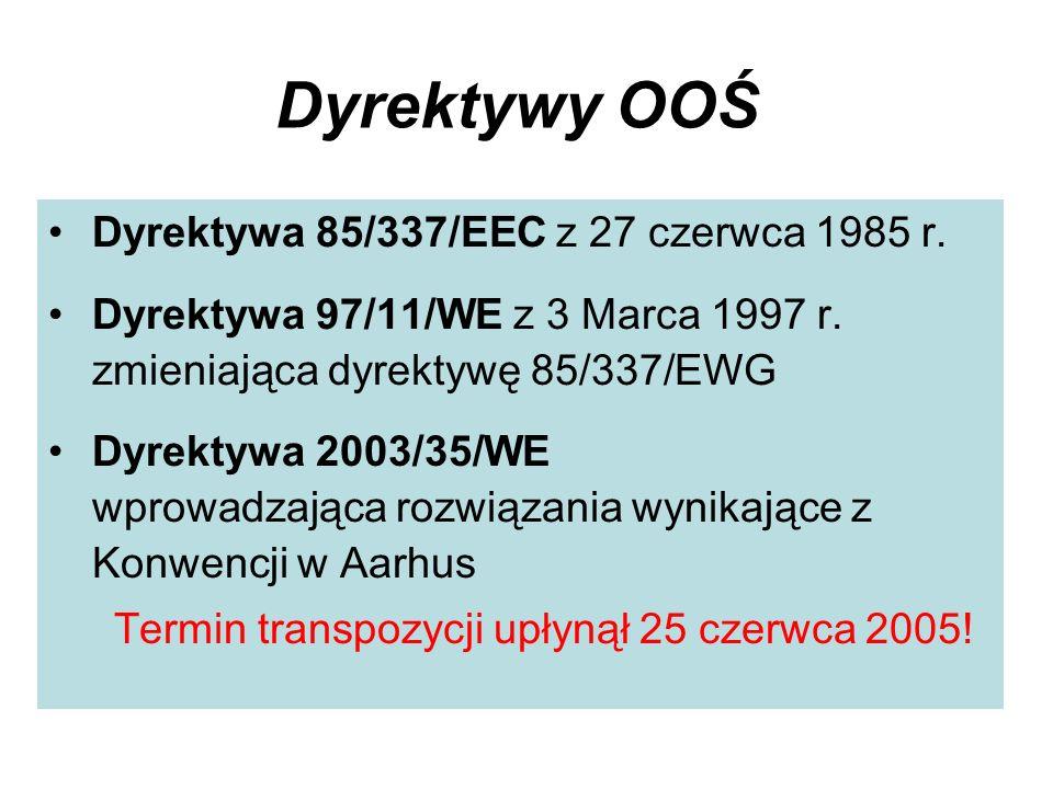 Dyrektywy OOŚ Dyrektywa 85/337/EEC z 27 czerwca 1985 r. Dyrektywa 97/11/WE z 3 Marca 1997 r. zmieniająca dyrektywę 85/337/EWG Dyrektywa 2003/35/WE wpr