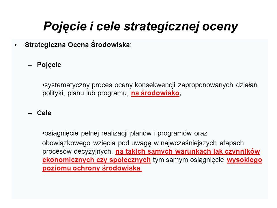 Pojęcie i cele strategicznej oceny Strategiczna Ocena Środowiska: –Pojęcie systematyczny proces oceny konsekwencji zaproponowanych działań polityki, p
