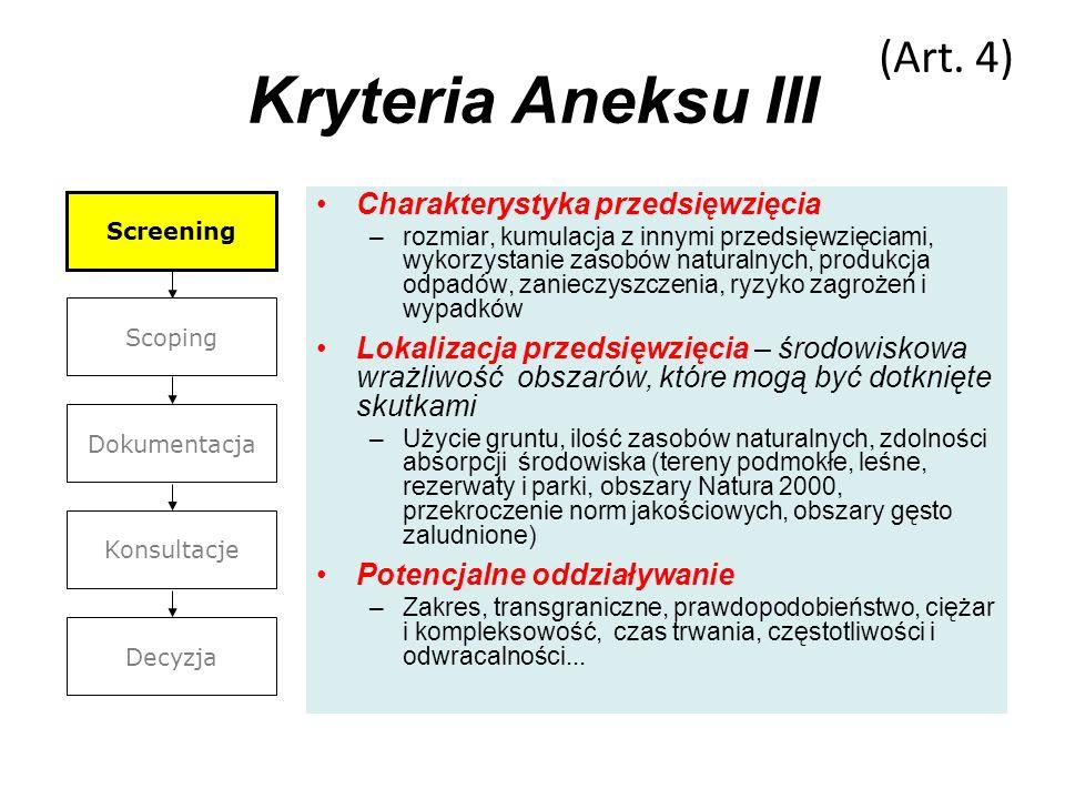 Kryteria Aneksu III Charakterystyka przedsięwzięcia –rozmiar, kumulacja z innymi przedsięwzięciami, wykorzystanie zasobów naturalnych, produkcja odpad