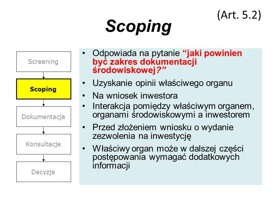 Scoping Odpowiada na pytanie jaki powinien być zakres dokumentacji środowiskowej? Uzyskanie opinii właściwego organu Na wniosek inwestora Interakcja p
