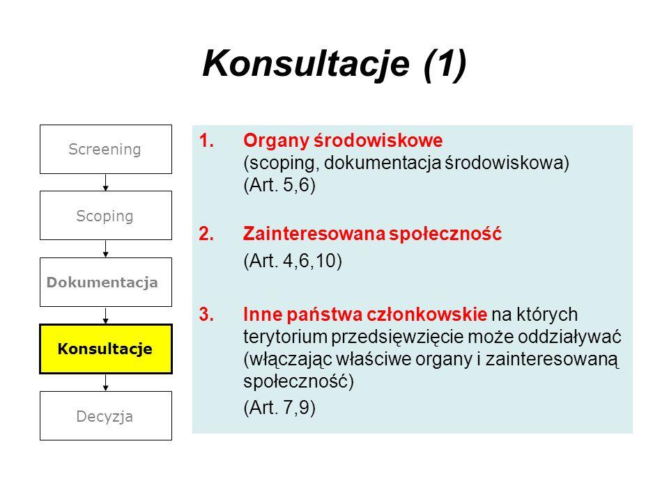 Konsultacje (1) 1.Organy środowiskowe (scoping, dokumentacja środowiskowa) (Art. 5,6) 2.Zainteresowana społeczność (Art. 4,6,10) 3.Inne państwa członk