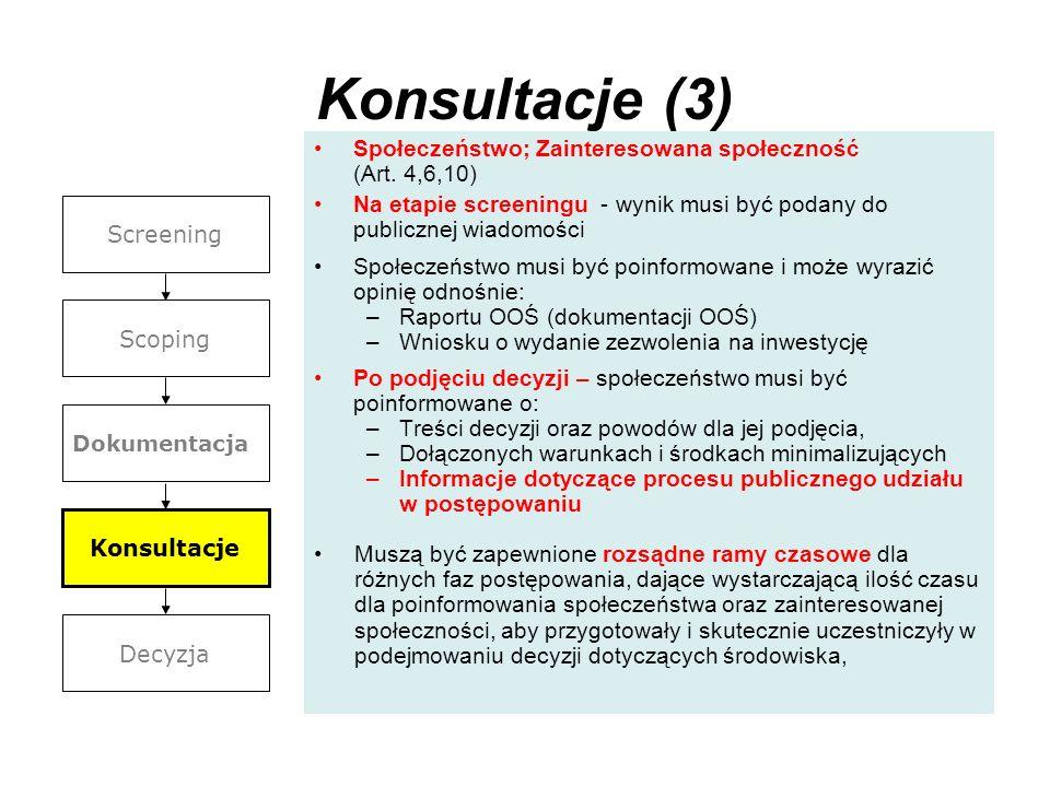 Konsultacje (3) Społeczeństwo; Zainteresowana społeczność (Art. 4,6,10) Na etapie screeningu - wynik musi być podany do publicznej wiadomości Społecze