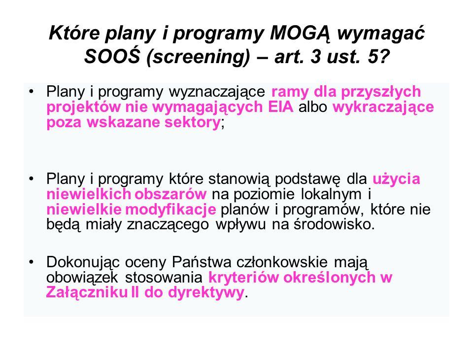Które plany i programy MOGĄ wymagać SOOŚ (screening) – art. 3 ust. 5? Plany i programy wyznaczające ramy dla przyszłych projektów nie wymagających EIA
