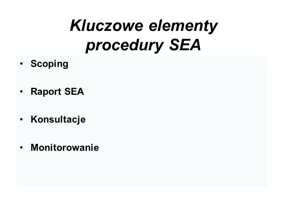 Kluczowe elementy procedury SEA Scoping Raport SEA Konsultacje Monitorowanie