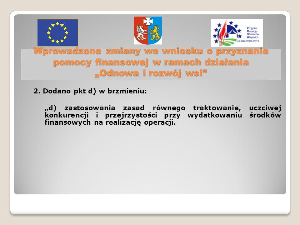 Wprowadzone zmiany we wniosku o przyznanie pomocy finansowej w ramach działania Odnowa i rozwój wsi 2.