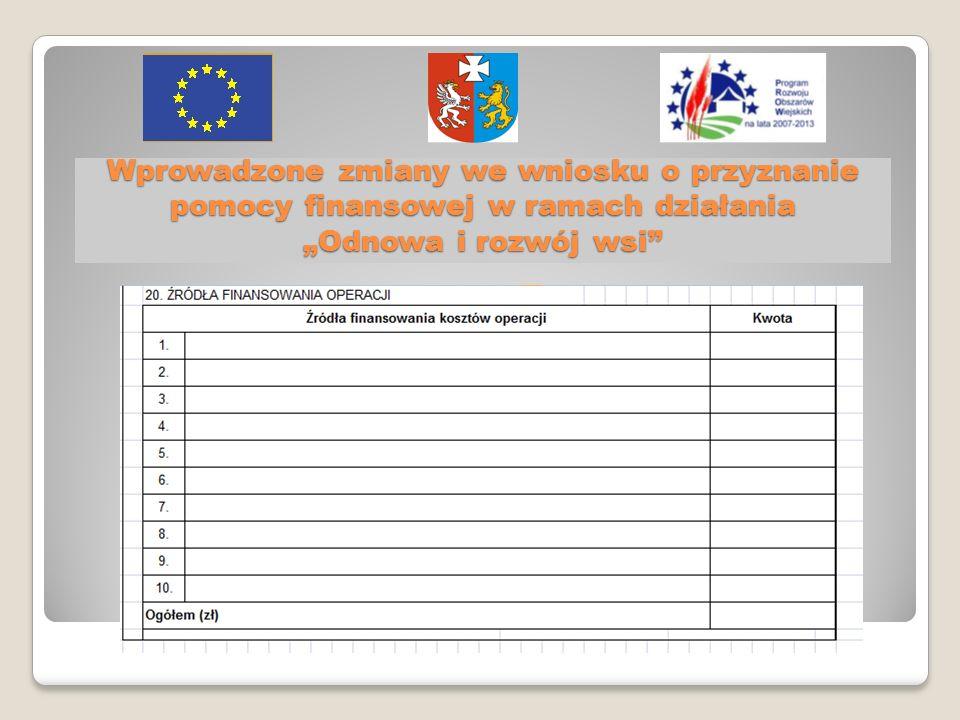 Wprowadzone zmiany we wniosku o przyznanie pomocy finansowej w ramach działania Odnowa i rozwój wsi
