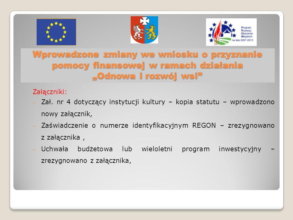 Wprowadzone zmiany we wniosku o przyznanie pomocy finansowej w ramach działania Odnowa i rozwój wsi Załączniki: Zał.